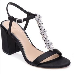 Badgley Mischka Raina Jeweled Block Satin Heels